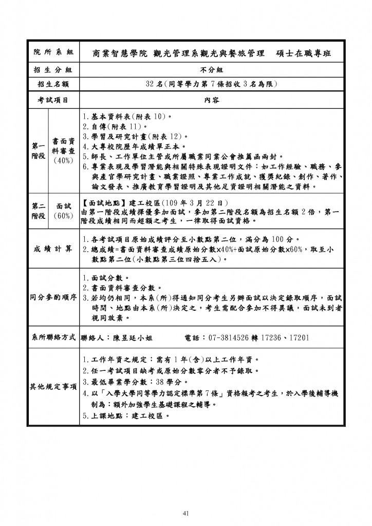 109年度觀光系碩專班招生簡章